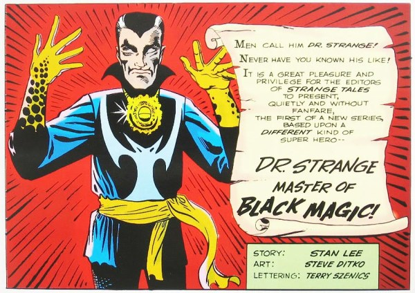Introducing Doctor Strange - a panel from Strange Tales #110. Script by Stan Lee, art by Steve Ditko