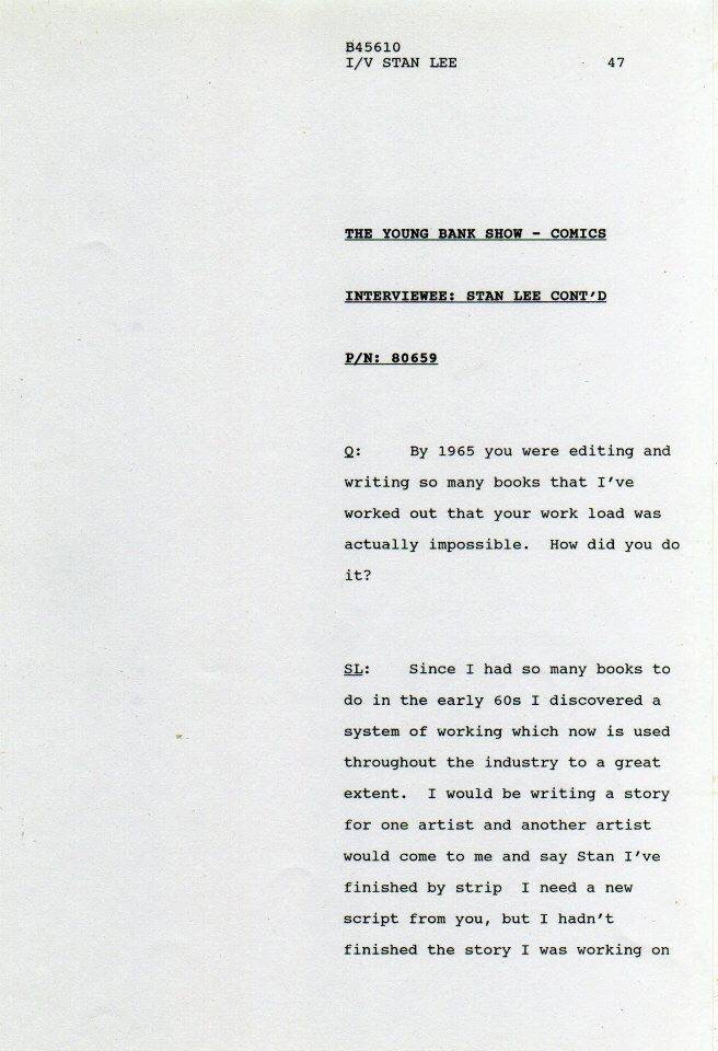 A page from the transcript of the Stan Lee interview recorded for The South Bank Show