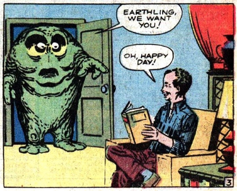 "A panel from From ""The Joker"" by Stan Lee & Steve Ditko, Amazing Fantasy #5 (1961)"
