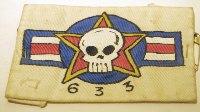 Alan Martin's 633 Squadron Patch. Hand painted by Jamie Hewlett and Philip Bond, 1986