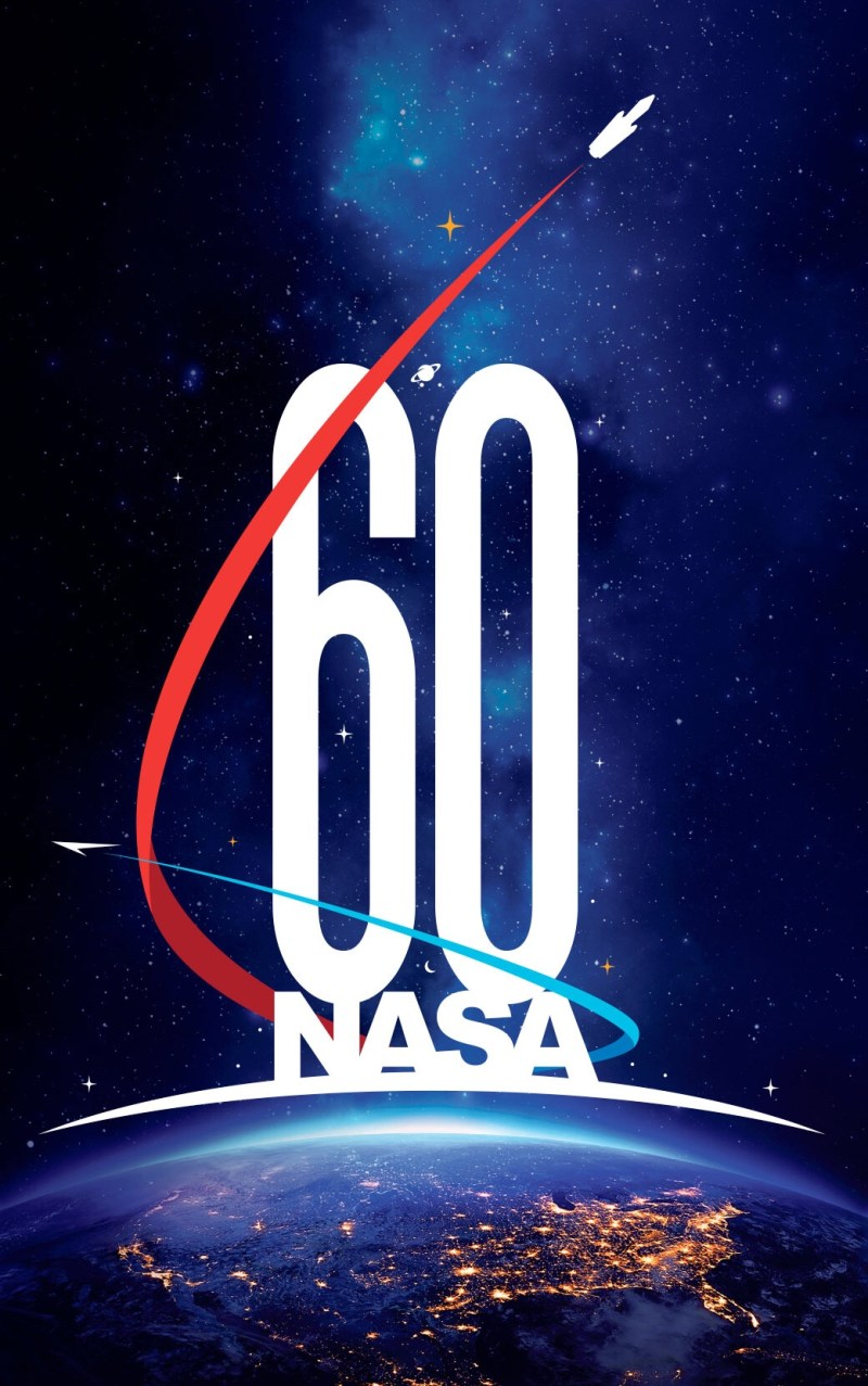 "NASA's 60th anniversary logo, created by Matthew Skeins. The logo's arrangement is intended to evoke a quote attributed to 17th century physicist Isaac Newton: ""If I have seen further than others, it is by standing on the shoulders of giants."" (NASA)"