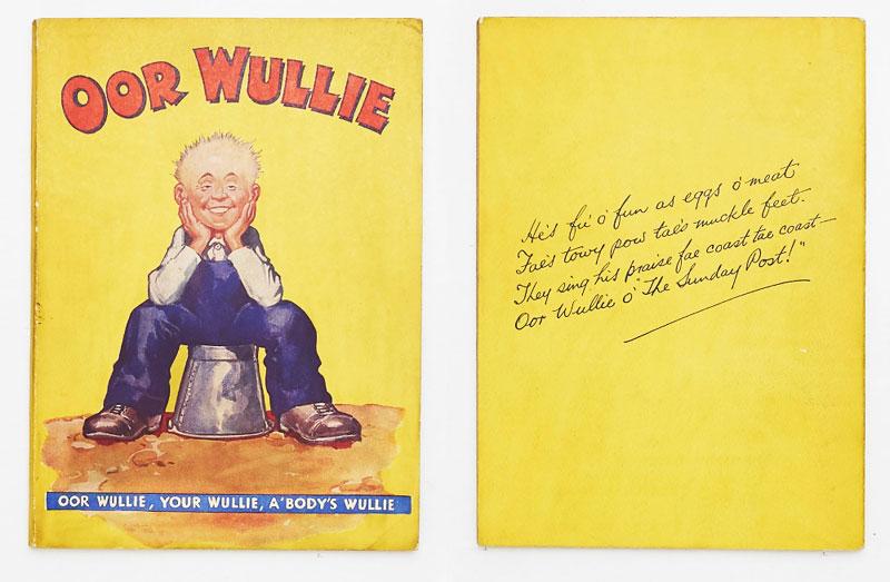 Oor Wullie Book 1 (1941). The Wee Lad on his upturned bucket by Dudley Watkins