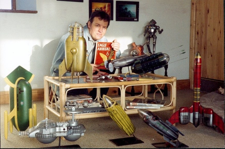 Effects wizard Martin Bower and some of his Dan Dare related models built during his career.