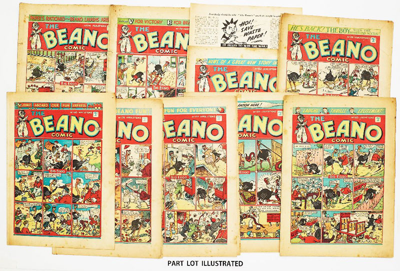 Beano (1942) 174-184 Propaganda war issues. Hitler cartoon 'Himmel!, Der pig-dog British are saving all their waster paper!'. Pansy Potter goes fishing and catches a U-Boat. Lord Snooty gives the Nazis laughing gas but Hitler thinks it's not funny. No 180 Pansy Potter drawn by Dudley Watkins