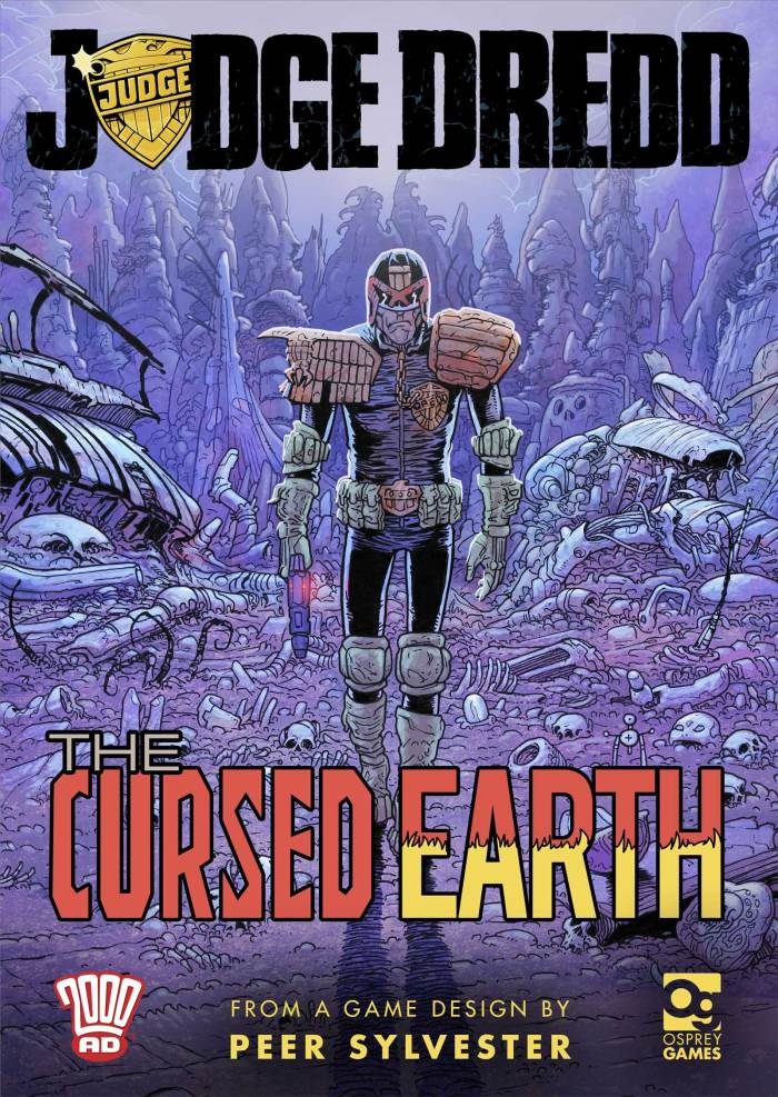 Promotional art for Osprey Games Judge Dredd: The Cursed Earth - not final cover (art by Dave Taylor)