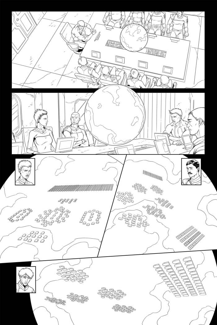 Lost Fleet #4 Page 7 - First Pass. First inks for a page featuring a battle simulation that wasn't quite in keeping with he Lost Fleet novels