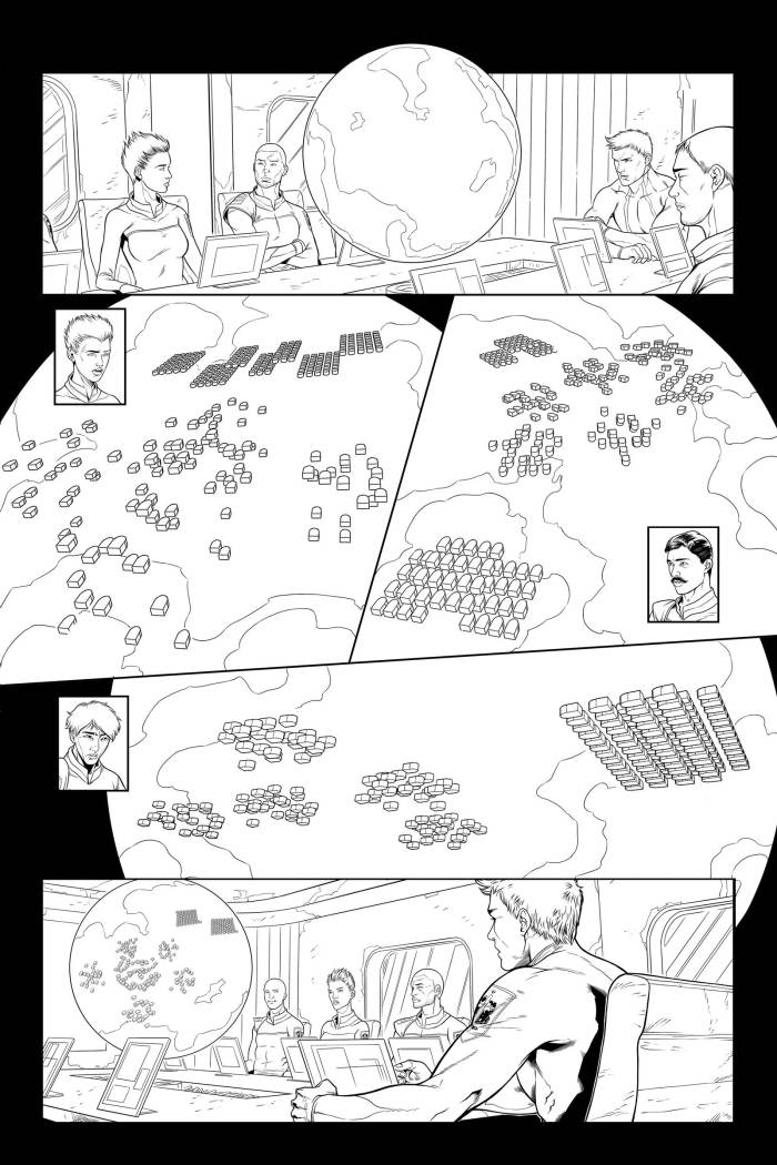 The page from Lost Fleet #4 with a revised look thanks to John Hemry's input
