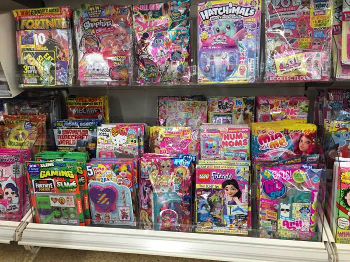 "Larger supermarkets give their comics much more space, with ""covers out"" compared with WHSmth cramping of magazines on their shelves"