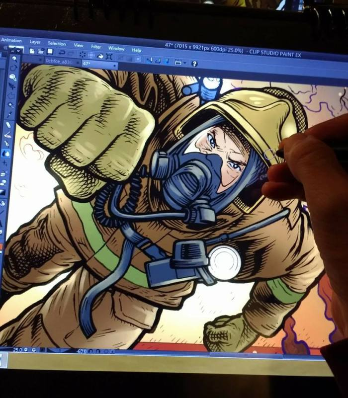 Art in progress for Away, one of Jon Laight's strips, illustrated by Grant Richards with colours by Darren Stephens