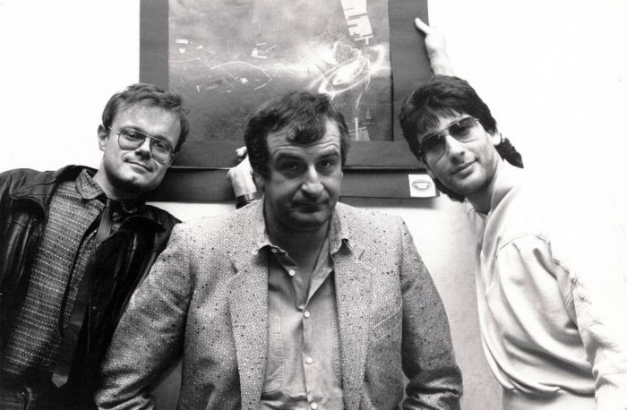 Forbidden Planet's Nick Landau, Douglas Adams and author Neil Gaiman at a signing in 1987