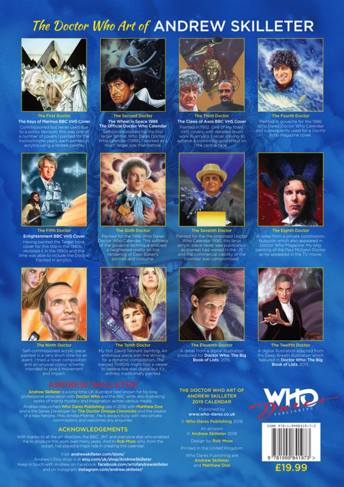 The Doctor Who Art of Andrew Skilleter 2019 Limited Edition Calendar - Back