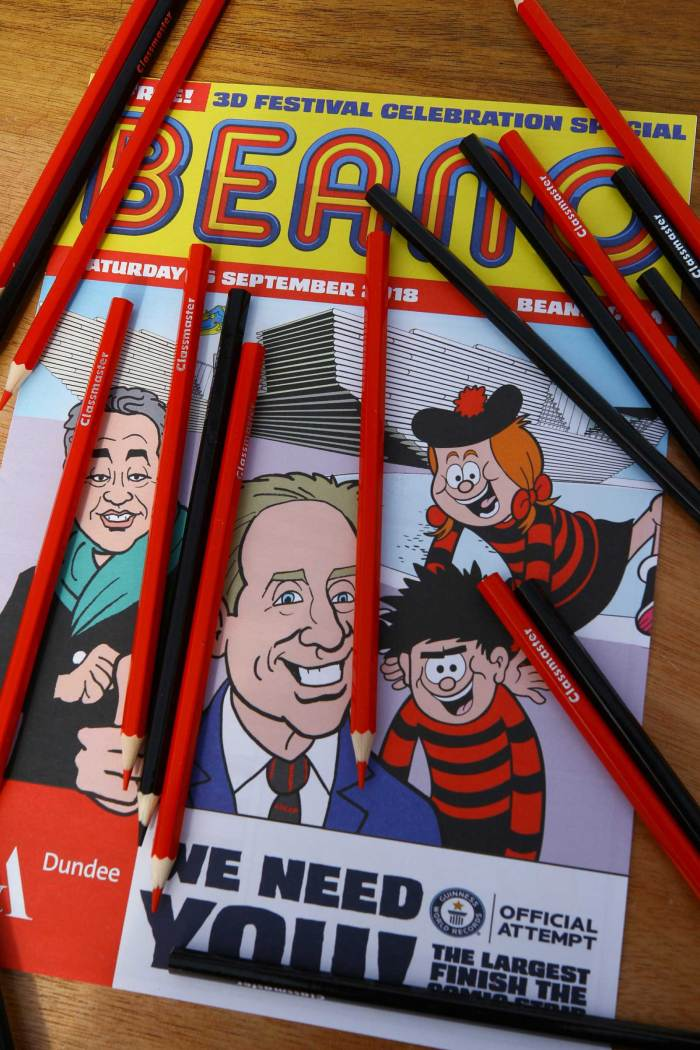 Beano has achieved a new GUINNESS WORLD RECORDS (GWR) title at the opening of the new V&A Dundee, launching the world's largest competition to finish a unique comic strip. Image: DC Thomson