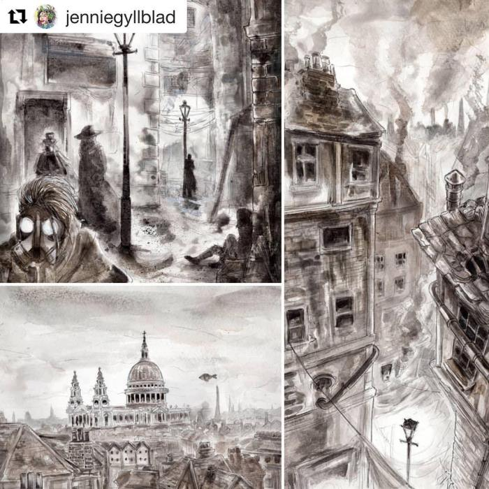 Pages from the steampunk comic Clockwork Watch - Sins of my Father, which is currently in progress. Art by Jennie Gyllblad