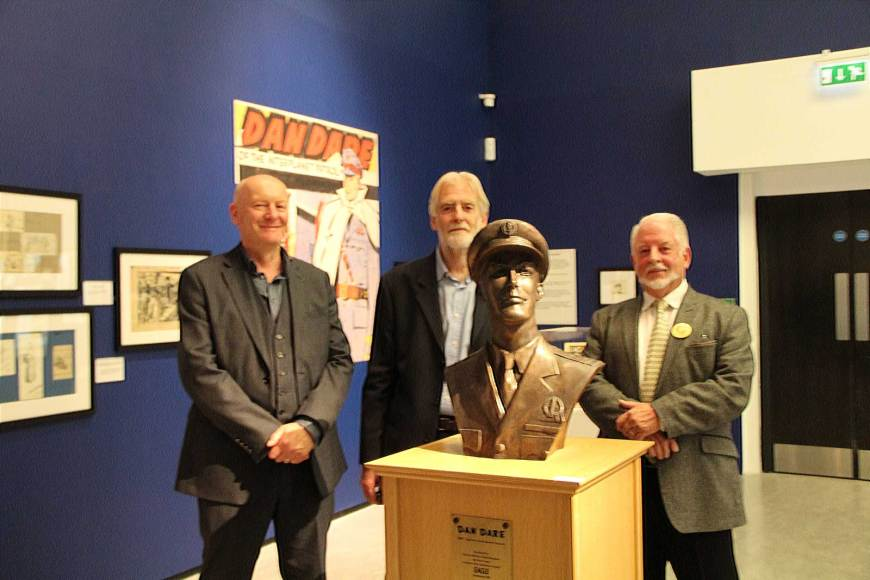"Peter Hampson, Stephen Whittle and David Britton at the launch of ""Frank Hampson – The Man Who Drew Dan Dare"" at the Atkinson, Southport. Image courtesy The Atkinson"