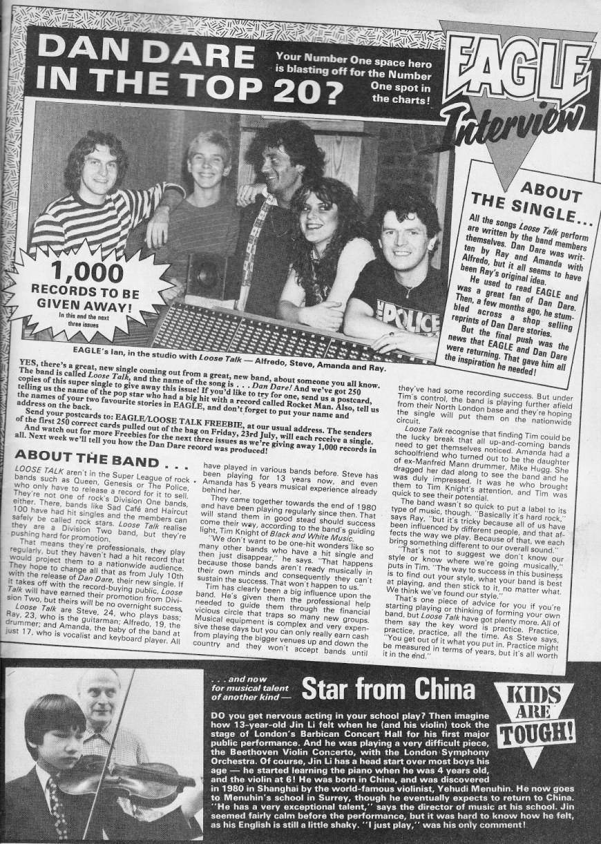 Eagle's coverage of Loose Talk in the Issue cover dated 17th July 1982