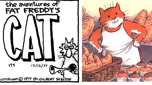 Cartoon Cats. Images © Gilbert Shelton and Posy Simmonds