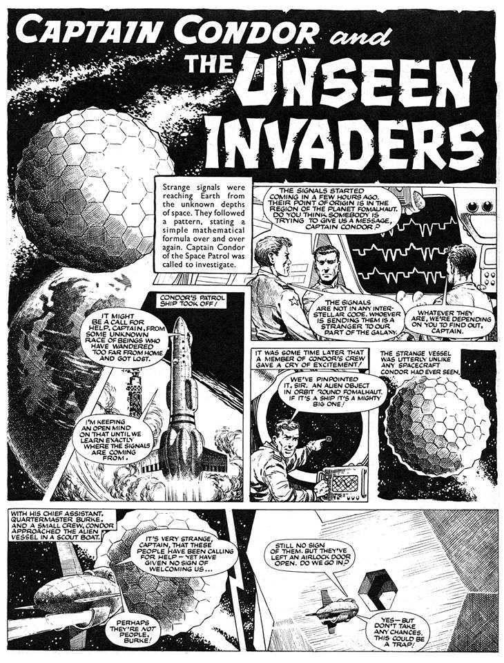 The opening page of 'Captain Condor and the Unseen Invaders' - Brian Lewis's third and final Captain Condor serial which originally appeared in Lion from November 1962 to January 1963. This scan is taken from the edited version of the story that was subsequently reprinted in the 1968 Lion Summer Special. Via the Art of Brian Lewis Facebook group