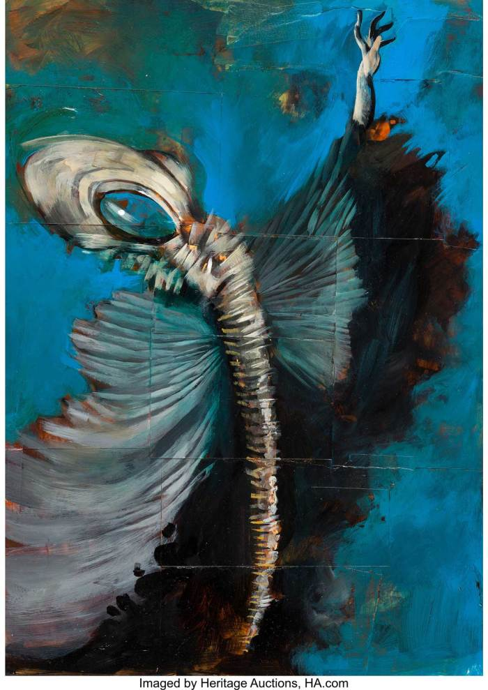 Dave McKean - Sandman Unpublished Painting Original Art (undated). Sandman... Lord Morpheus... Dream of the Endless. This immortal being was the star of Neil Gaiman's smash-hit Sandman. Dave McKean's covers were influential in setting the tone of the book and making it clear that this isn't a cape-and-cowl superhero book... it was a fairy tale for adults.