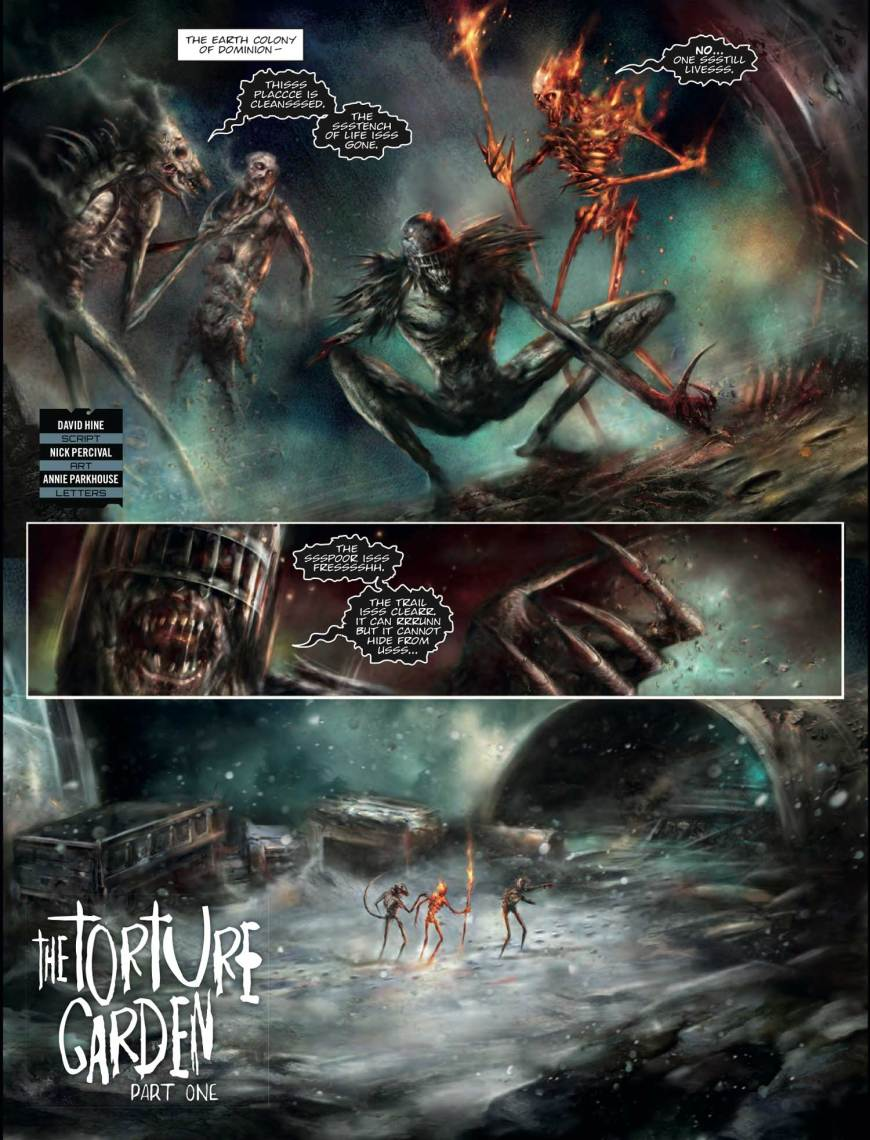 """The Torture Garden"" starring the Dark Judges from Jugde Dredd Megazine 400, scripted by David Hine, art by Nick Percival"