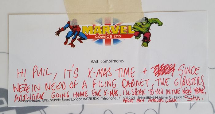 A note to Phil Elliott from Marvel UK editor Stuart Bartlett accompanying art returned to artists on the Real Ghostbusters