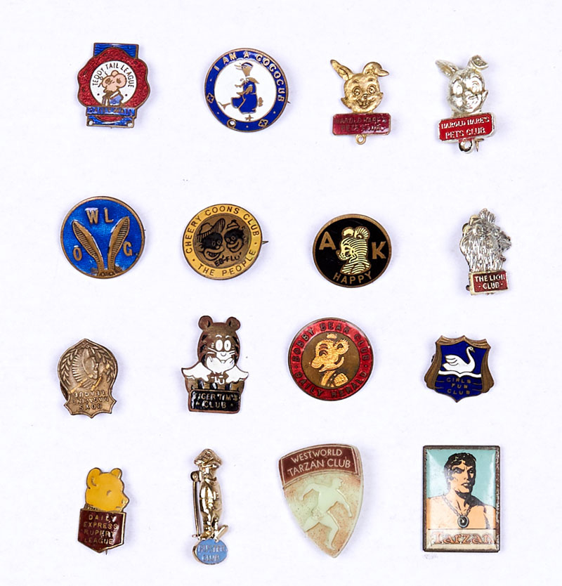 British comics club badges from the 1930s-60s, including Tiger Tim, Teddy Tail, Bobby Bear, Harold Hare (2 different), Lion, Cococlub, Eb'n'Flo Cheery Coons, Rupert, Boys' Magazine, Girls Fun Club, WL Old Girls, Tarzan, Tarzan Westworld, Buster, A.K. Happy