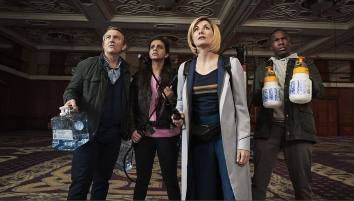 Doctor Who - Arachnids in the UK - Team TARDIS. Image © BBC/BBC Studios