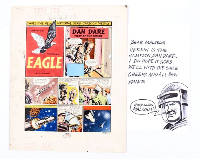 "Dan Dare original artwork for the story ""Terra Nova"", for Eagle Volume 10 No 23. At this time, the art team comprised Frank Hampson, Frank Bellamy, Keith Watson, Don Harley and Gerald Palmer. Colonel Dare and Digby launch Anastasia to locate the derelict ship 'Galactic Pioneer', his father's vessel, lost in space some thirty years earlier. Note the Eagle logo and header was painted by illustrator and original owner, Mike C with his sketch of encouragement. (Other boards of this time do not feature a logo at all)."
