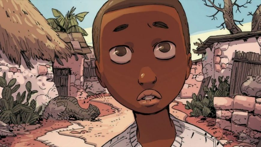 """A panel from """"Illegal"""" the graphic novel by writers Eoin Colfer and Andrew Donkin, and artist Giovanni Rigano"""
