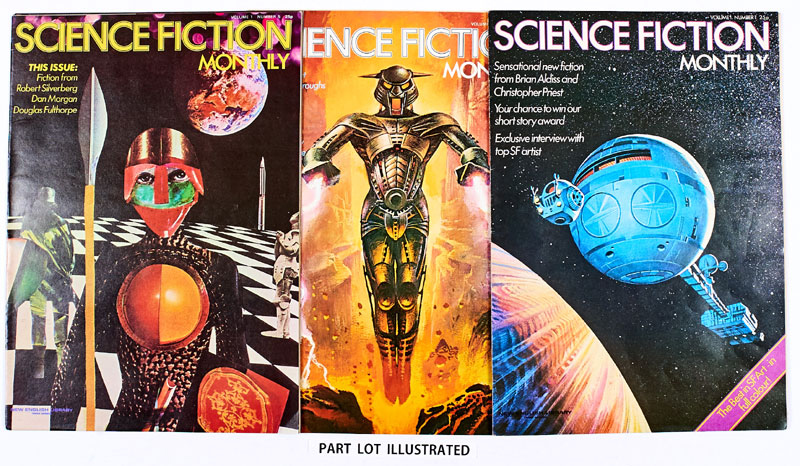 Science Fiction Monthly (1974-76 New English Library) 1-28 Complete run. Vol. 2 No 11 with T-Shirt Transfer. With stories by Ray Bradbury, John Wyndham, Brian Aldiss and Arthur C Clarke, featuring artists Bruce Pennington, Chris Foss, Tim White and Bob Fowke. In large, broadsheet size, Science Fiction Monthly was published loose leaf and the centre double page posters were often extracted thus ensuring that very few complete sets survive. This one heroically has, and in very high grades