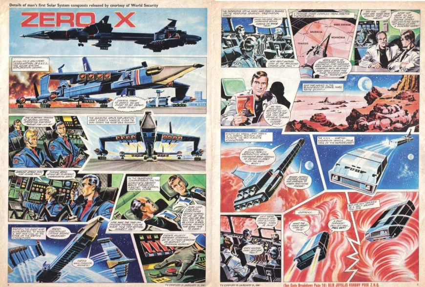 """Mike Noble's """"Zero-X"""" strip for an issue of TV21 cover dated 21st January 1967 (or 2067, to reflect the fiction of it being a comic from the future!)"""