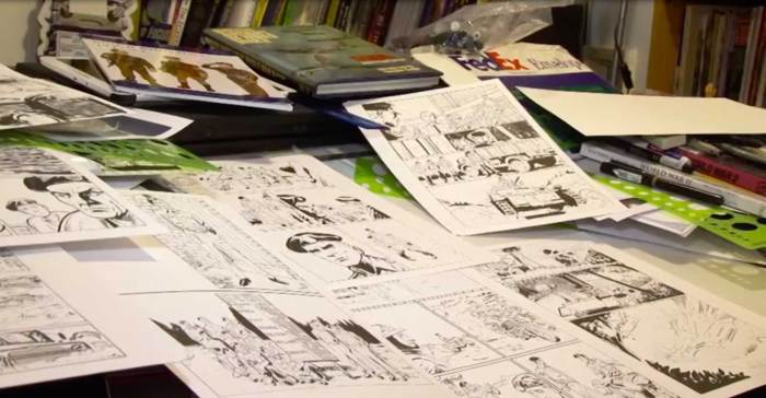 Art for The Longest Road on Mike Collins' drawing board. Image: Forces News
