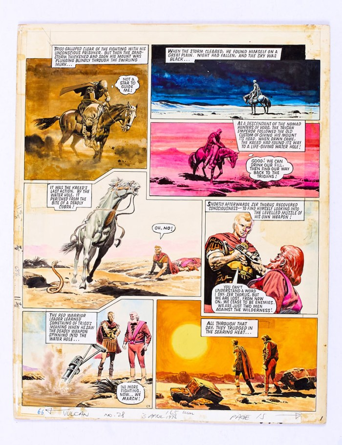 Trigan Empire original colour artwork drawn and painted by Don Lawrence from Look and Learn cover dated 28th February 1970 (later reprinted in Vulcan No 28 in 1976). Trigo and his arch-enemy, Zer Thorus, face the searing wilderness. From the Bob Monkhouse Archive. Gouache on board. 189 x 14 ins