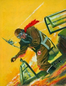 """Cover artwork for the War Picture Library 18, an adaptation of the 1941 film released in the United States under the same title, and originally in Great Britain as """"Dangerous Moonlight"""". It tells the story of a fictional Polish fighter pilot and pianist Stefan Radecki."""