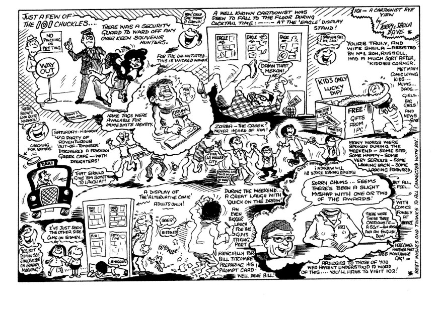 Terry Bave's sketch for Cartoonist Club magazine following the 101 Comic Convention in 1976