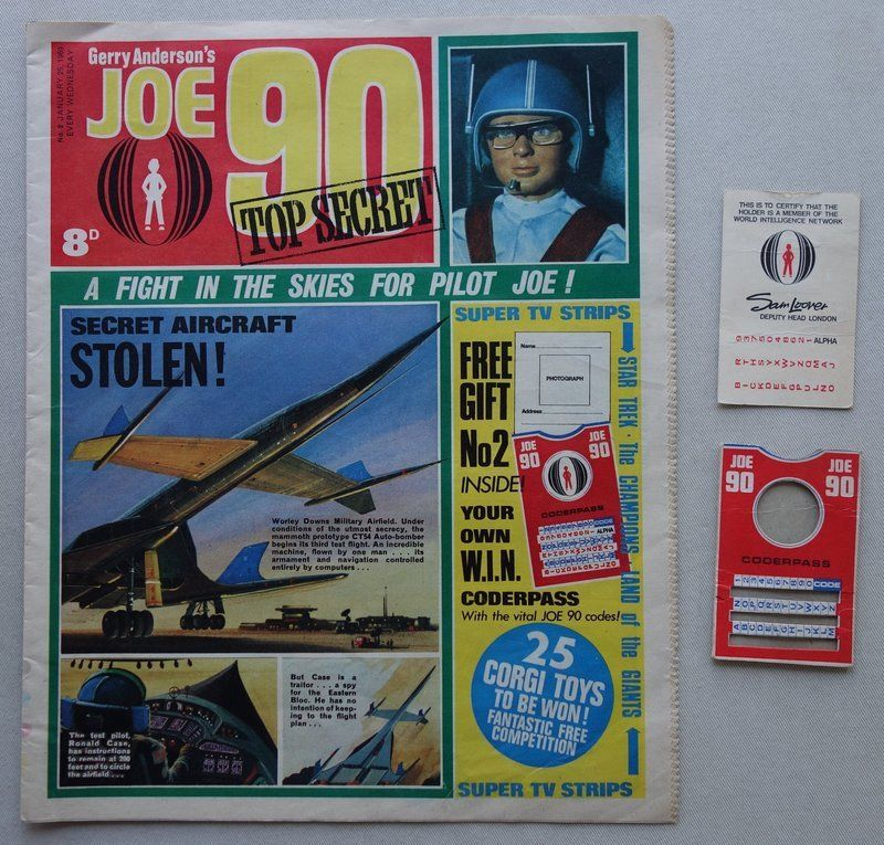 Joe 90 issue 2 cover dated 25th January 1969 - with free gift