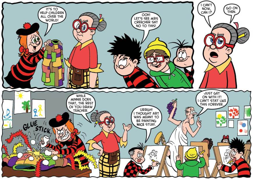 """The """"Save the Children Christmas Jumper Day"""" strip for The Beano on sale Wednesday 5th December 2018. Script by Nigel Auchterlounie, art by Nigel Parkinson"""