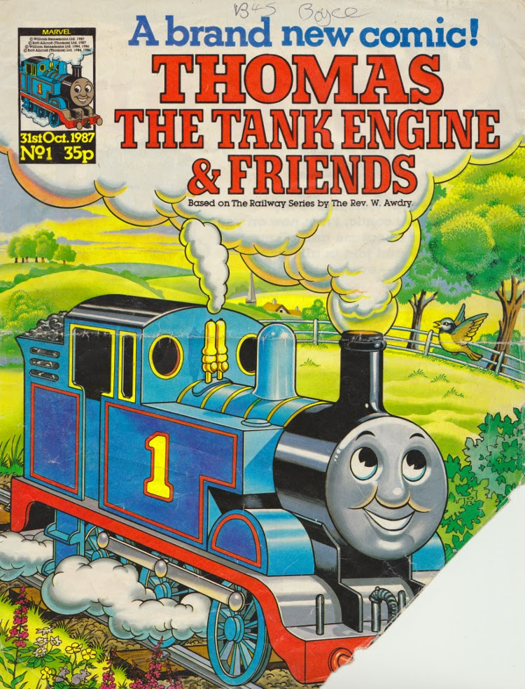 Phil's treasured copy of Marvel UK's Thomas the Tank Engine and Friends Issue 1, cover dated 31st October 1987, the cover clipped to join the The Thomas Club and receive a membership pack