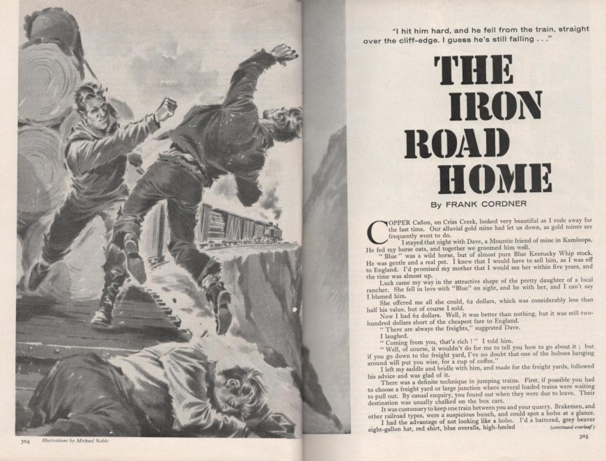 """Wide World June 1962 p304-305, """"The Iron Road Home"""" by Frank Cordner"""