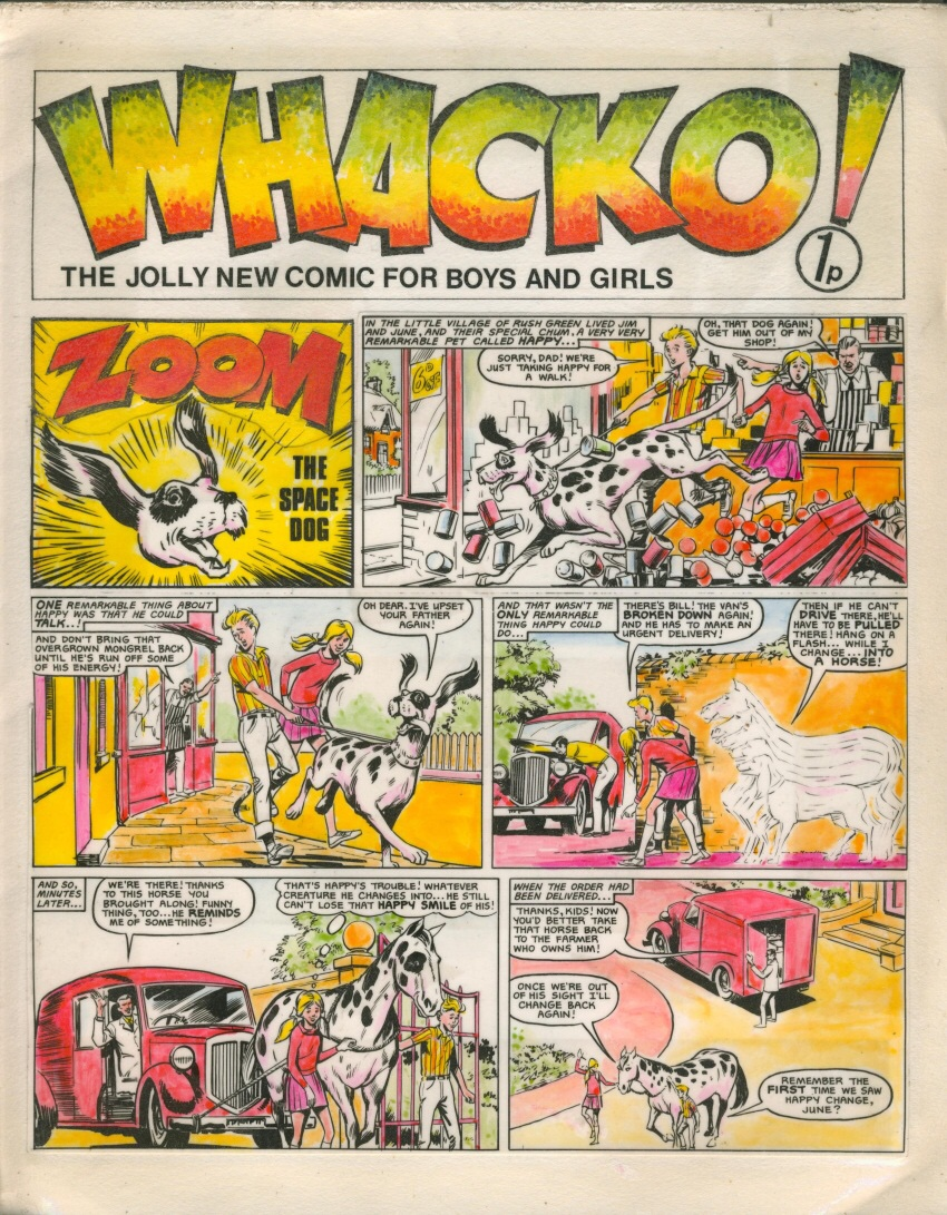 The cover of the mysterious dummy Whacko! comic, featuring a strip attributed to John Richardson