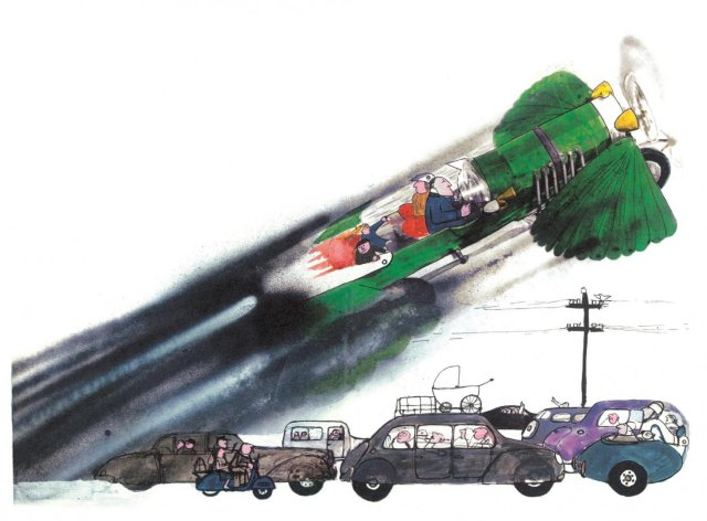 An illustration for Ian Fleming's Chitty Chitty Chitty Bang Bang by John Burningham