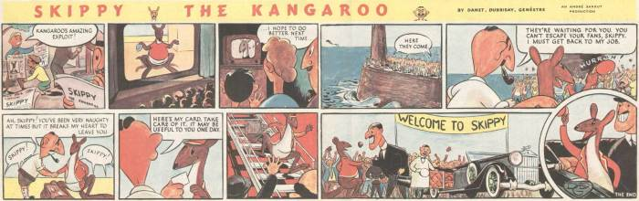 Eagle Volume One Issue 52 - Skippy the Kangaroo. On reaching Europe, Skippy disappeared from the pages of Eagle, replaced by Tintin