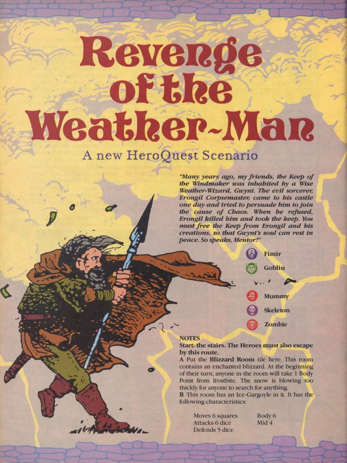 "Marvel UK Heroquest Quest Quest ""Revenge of the Weather-Man"" by Ken and Jo Walton"