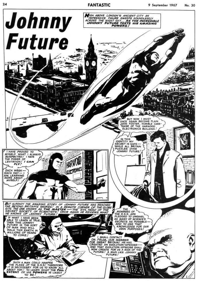 """Johnny Future"" - a story from Odhams Fantastic comic, scripted by Alf Wallace with art by Luis Bermejo"