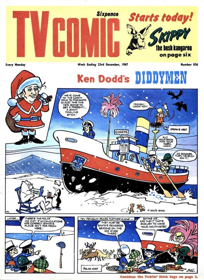 Skippy the Bush Kangaroo makes his debut in TV Comic Issue TV Comic 836 (cover dated 23rd December 1967) with a cover mention