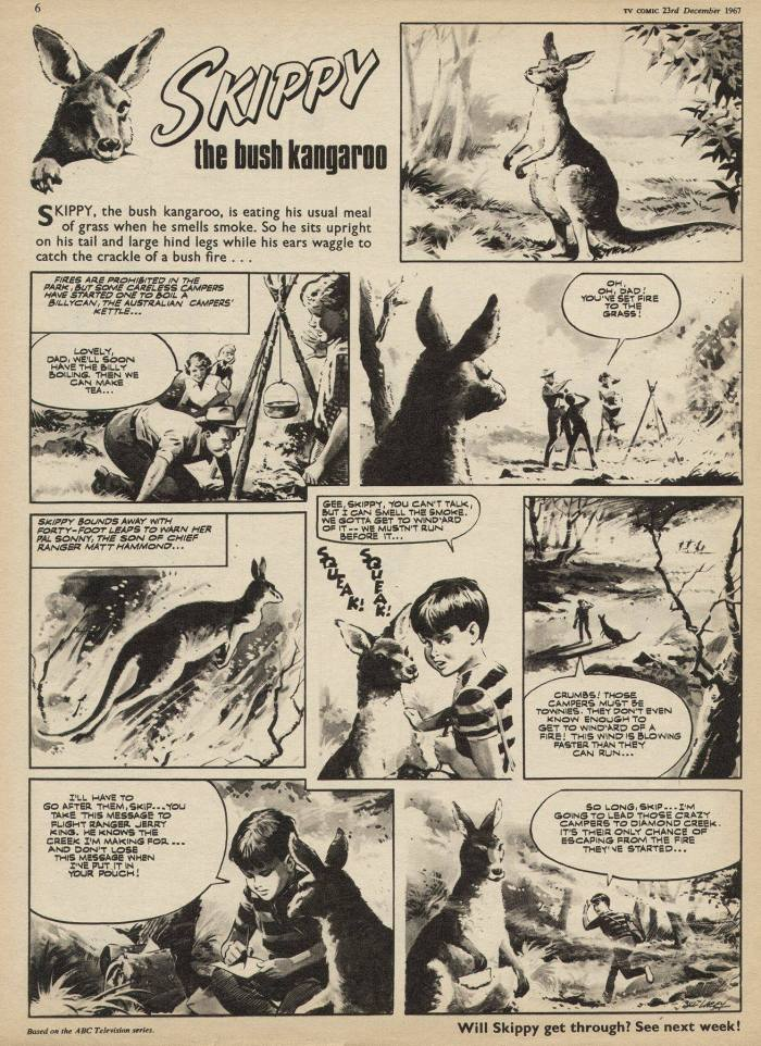 """Skippy the Bush Kangaroo"", drawn by Bill Lacey, for TV Comic 836, cover dated 23rd December 1967"