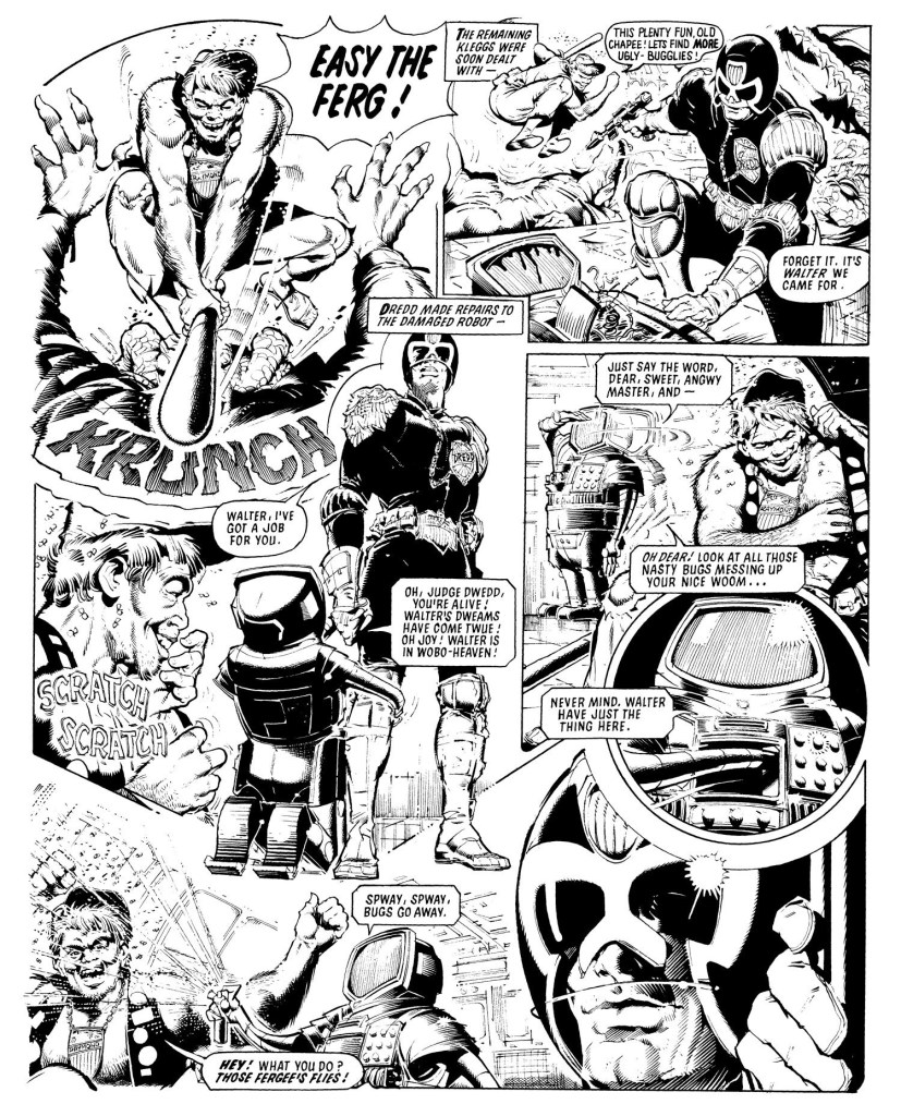 Three pages of Ron's art from The Day The Law Died (2000 AD Progs 89-108, 1978-9). Not sure there's a time his quality ever dipped below 'excellent'...