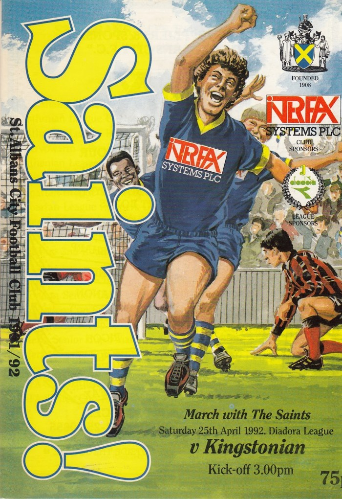 St Albans Football Club Programme - Saturday 25th April 1992 - cover art by John Gillatt