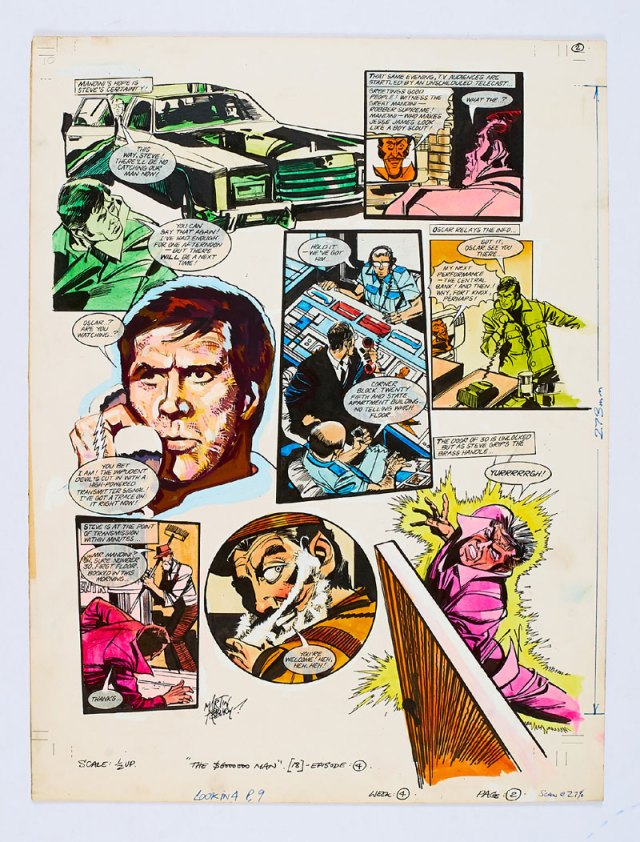 Six-Million Dollar Man original artwork painted and signed by Martin Asbury for Look-in cover dated 4th July 1975. Steve is electrocuted by Mandini… (Poster colour on board. 20 x 15 ins)