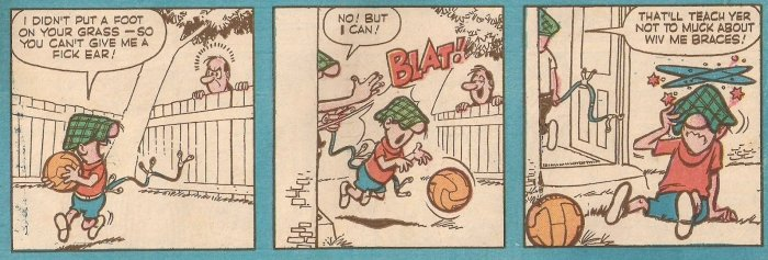 Andy Capp cameos in the Buster strip in the issue of Buster cover dated 16th July 1960 (With thanks to Adam Pubert Addams)