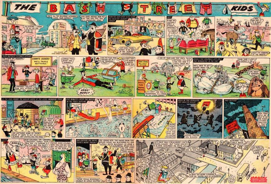 "The first two-page episode of ""The Bash Street Kids"" in full colour, from the Beano No. 1046 © DC Thomson (with thanks to Irmantas Povilaika)"
